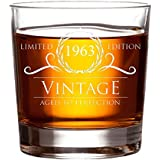 1963 55th Birthday Gifts for Women and Men Whiskey Glass - 11 oz Whisky, Bourbon, Scotch Glasses. Funny Vintage Anniversary Gift for Him, Her, Husband, Wife, Dad or Mom. Decorations