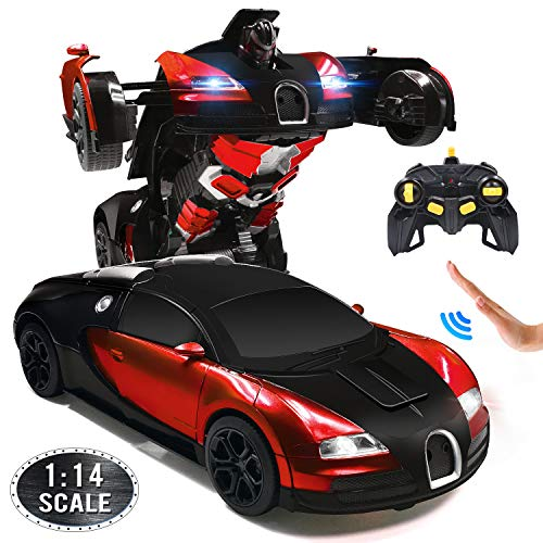 Ursulan RC Cars Robot for Kids Remote Control Car Transformrobot Gesture Sensing Toys with One-Button Deformation and 360°Rotating Drifting 1:14 Scale Best Gift for Boys and Girls- Red (Remote Controller Car)