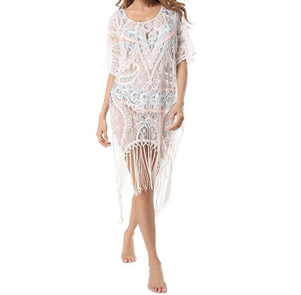 JiaMeng Damen Beach Wear Tops Plus Size Blumenspitze Bademode Kleider Badeanzug Bikini vertuschen
