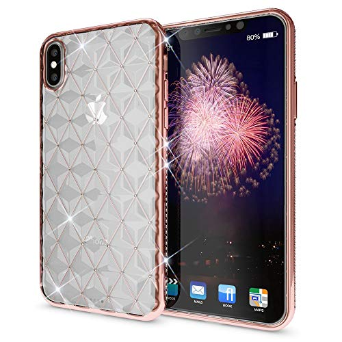NALIA Rhinestone Case Compatible with iPhone X XS, Ultra-Thin Silicone Back-Cover Crystal Diamond Pattern, Protective Slim-Fit Skin Shockproof Gel Bling Phone Protector Bumper, Color:Rose Gold