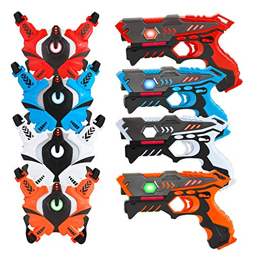 VATOS Infrared Laser Tag Guns Set with Vests 4 Player, Laser Tag Game Set for Kids and Adults, Set of 4 Laser Tag Gun Toys Indoor Outdoor, Laser Countermeasure Tag Blasters, Toy Guns for Boys Girls (Laser Play)