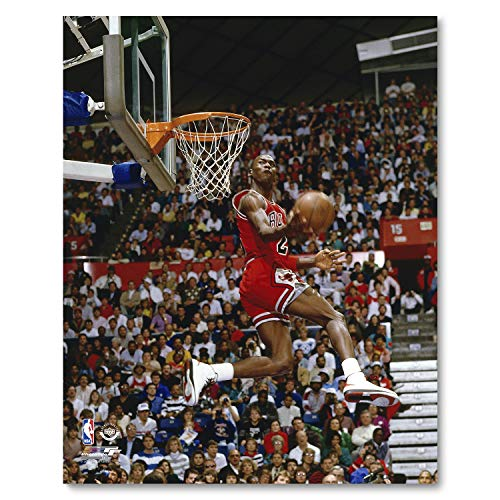 Jordan Basketball Player - Michael Jordan 1987 Slam Dunk Contest Action Glossy Photograph Photo Print