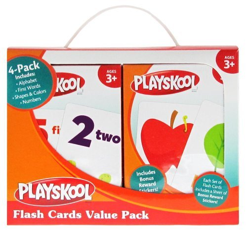Playskool Flash Cards  - 4 Sets of Flash Cards (Alphabet, Numbers, Colors and Shapes, First Words) - Packaging May Vary -