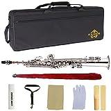 Kaizer Soprano Saxophone Straight B Flat Bb Nickel Silver SSAX-1000NK