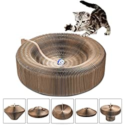 Cat Scratcher Lounge Collapsible Cardboard Scratcher Toy with Tinkle Ball & Catnip Portable High Density Recycled Corrugated Kitty Scratching Pad Cats Turbo Toys