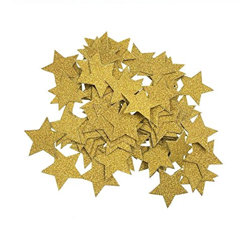 2 Packs Glitter Gold Star Confetti for Wedding party, Table Confetti, Festival Items & Party Props, Gold Glitter Paper Confetti (Per Pack of 100 )