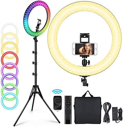 """19"""" RGB Selfie Ring Light with Tripod Stand, 11 Colors Modes RGB Dimmable LED Ring Light with Phone Holder for Tiktok、YouTube/Shooting/Vlogs/Makeup, Compatible with iPhone Android Phone"""