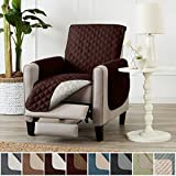 Home Fashion Designs Deluxe Reversible Quilted Furniture Protector and PET PROTECTOR. Two Fresh Looks in One. Perfect for Families with Pets and Kids. By Brand. (Recliner - Chocolate/Flax)