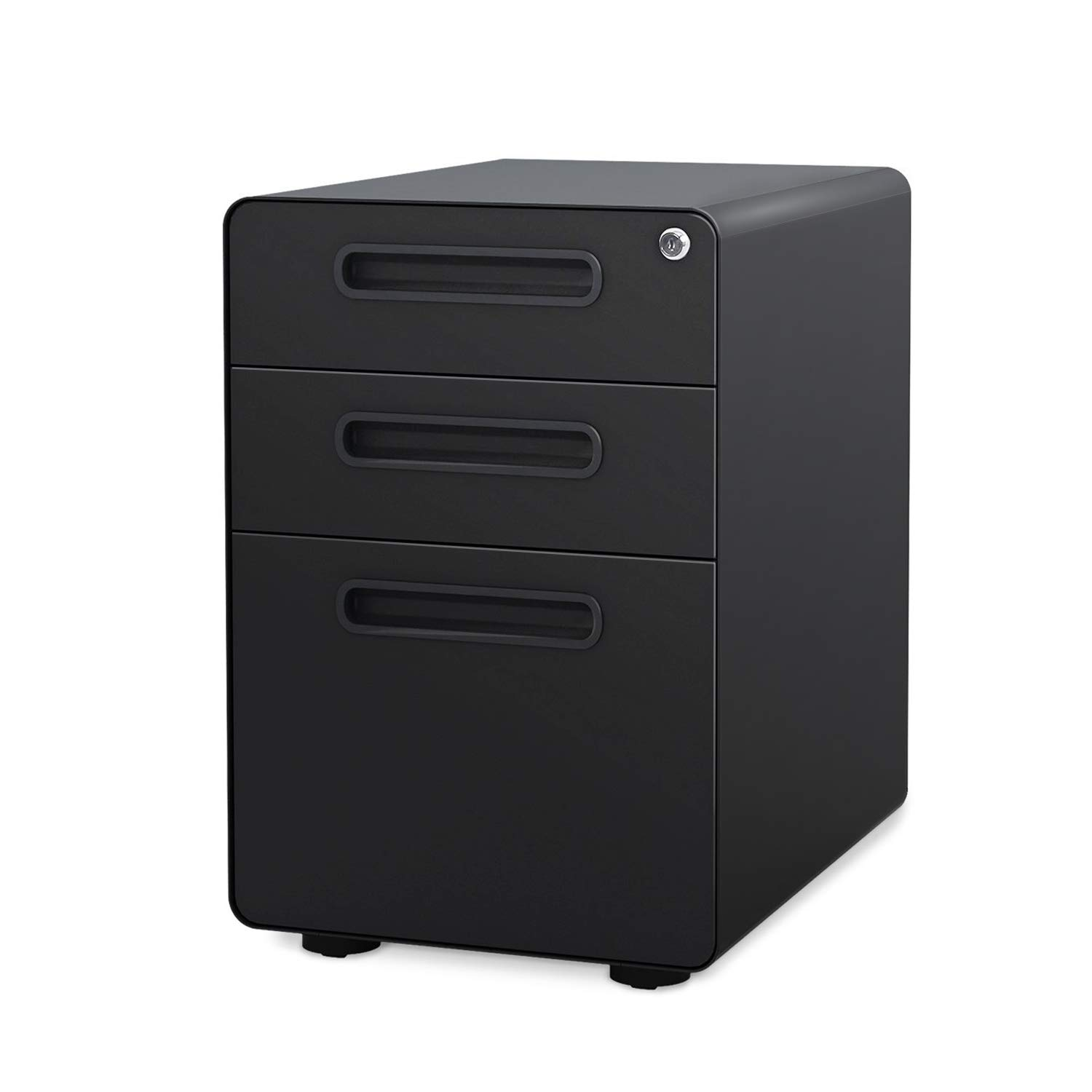 DEVAISE 3-Drawer Mobile File Cabinet with Anti-tilt Mechanism,Legal/Letter Size,Black