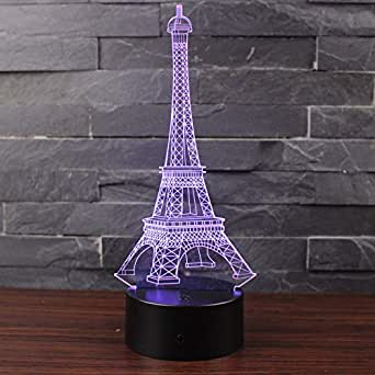 Doremy 3D Illusion LED Night Light Table Desk Lamp 7 Colors Gradual Changing Touch with USB Cable for Home Decoration or Children's Gifts (Eiffel Tower)
