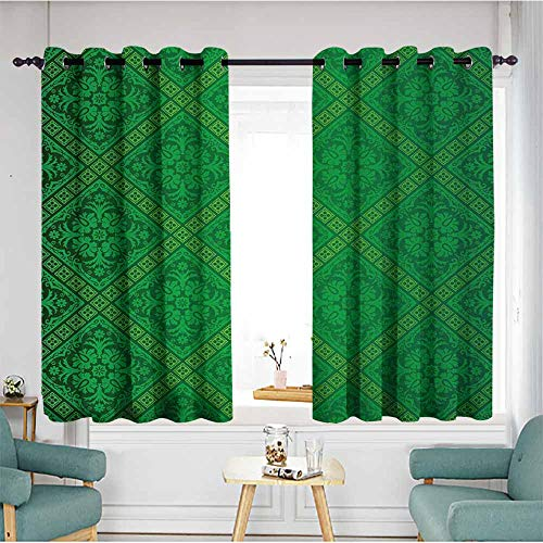 Beihai1Sun Curtains for Living Room,Green,Vector Illustration Seamless Pattern of Foliage Wallpaper Pattern Artwork Print,Forest Green,Energy Efficient, Room Darkening,W63x72L