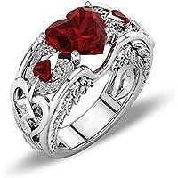YOFEEL الأميرة الفضة الأحمر روبي الأحجار الكريمة عيد الميلاد الزفاف الخطوبة القلب الدائري الفتيات النساء