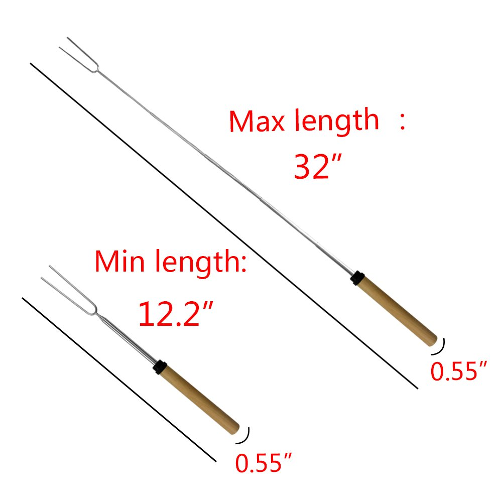 KEKU Marshmallow Roasting Sticks Set of 8 Telescoping Rotating Smores Skewers Hot Dog Fork Kids Camping Campfire Fire Pit Accessories