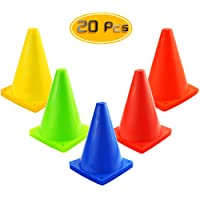 Kuqqi 7 Inch Plastic Agility Cones 20 Pack Set, Sports Soccer Flexible Cone for Training, Party, Activity, Traffic…