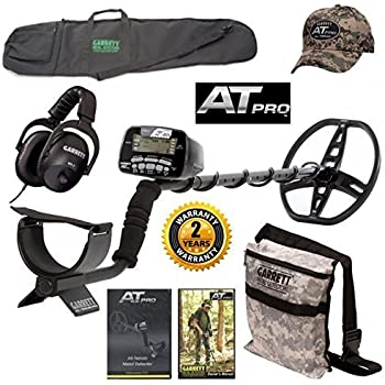 Garrett AT Pro Metal Detector, All Purpose Detector Carry Bag, Camo Diggers Pouch, At Pro Cap, and MS-2 Headphones