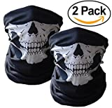 Skull Mask Microfiber Polyester Balaclava Bandana, Breathable Half Face Neck Scarf for Windproof Cold Weather - Motorcycle Cycling Tactical Airsoft Paintball Ski Snowboard Bike Women Men (2 White)
