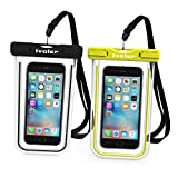 Waterproof Bag, [2 Pack] iVoler Clear Universal Snowproof Dirtproof Dry Bag Pouch for 6 / 6s Plus, iphone 7/7Plus, SE 5S 5C, Samsung Galaxy S6/S6 Edge/ S8 Plus/S8/s5 , ipod touch, Cell Phone up to 6 inches (Black +Bright Green )