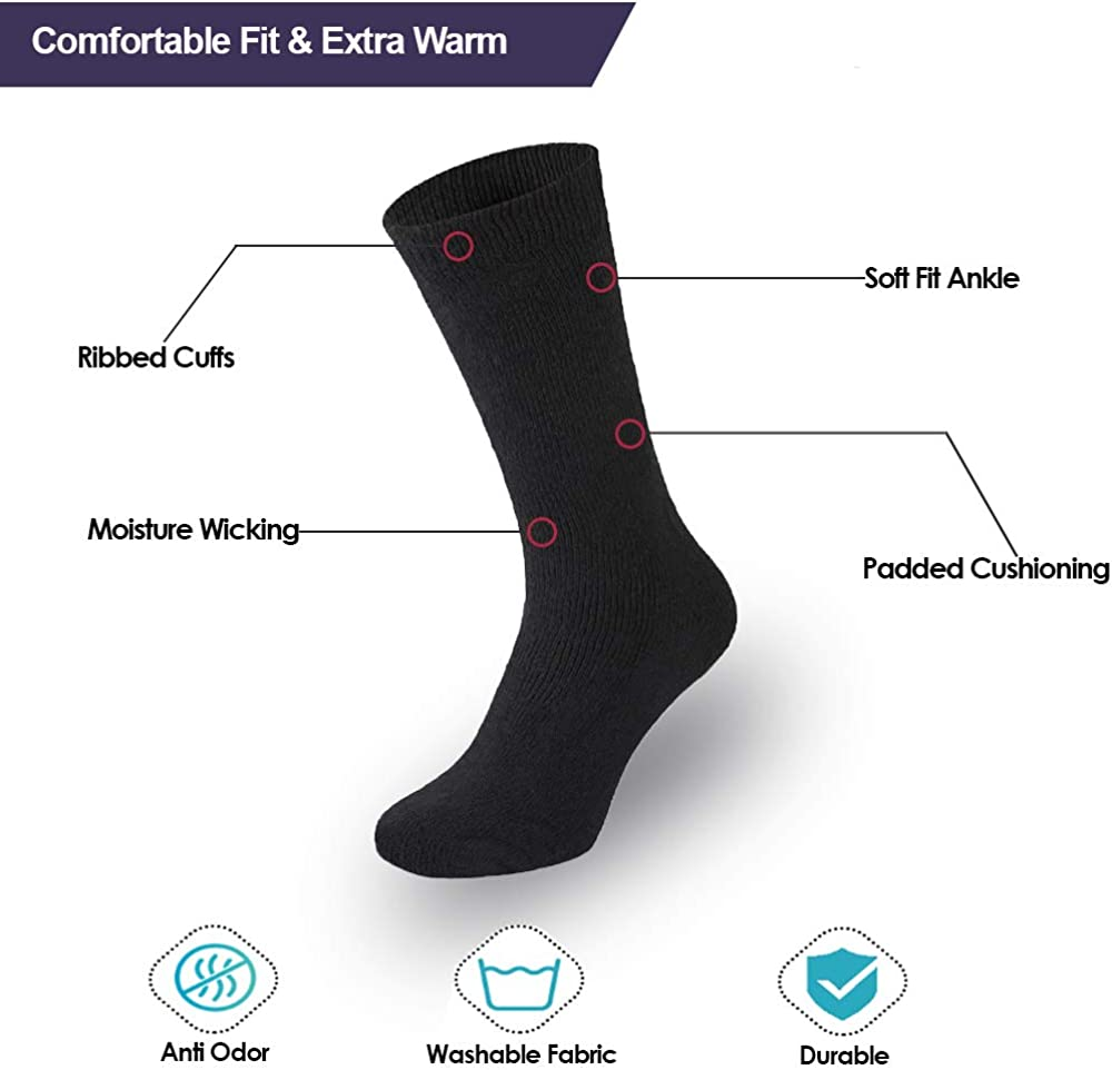 Brushed Thick Warm Winter Socks Triple Pack All Things Accessory 3 Pairs Thermal Socks