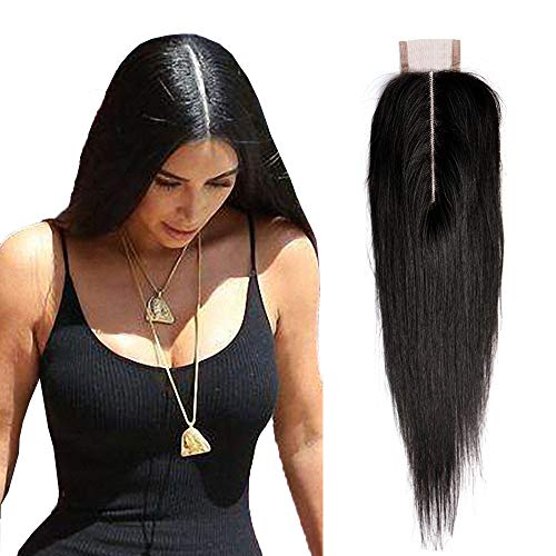 Amberhair 2x6 Deep Part Lace Closure Straight Human Hair Brazilian Virgin Remy Hair Middle Part Closure With Baby Hair Natural Color 12 inches