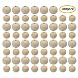 Wood Beads, Unfinished Natural Round Spacer Wooden Bead, 20mm, 16mm, 180Pcs Total
