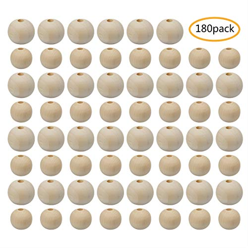 Round Wood Natural Beads - Wood Beads, Unfinished Natural Round Spacer Wooden Bead, 20mm, 16mm, 180Pcs Total