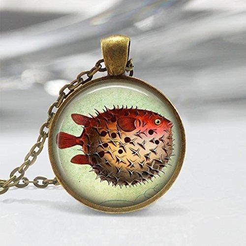 Jewelry tycoon®Pufferfish Necklace Fish Jewelry Nautical Marine Life Puffer Fish Ocean Art Pendant