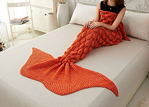 Amazing Mermaid Tail Blanket By ACRIMAX – Comfortable & Soft Design, Unique Fish Scale Knit Pattern, Eco-Friendly & Hypoallergenic Material, Large & Warm Snuggle Companion, Breath-Taking Gift Idea