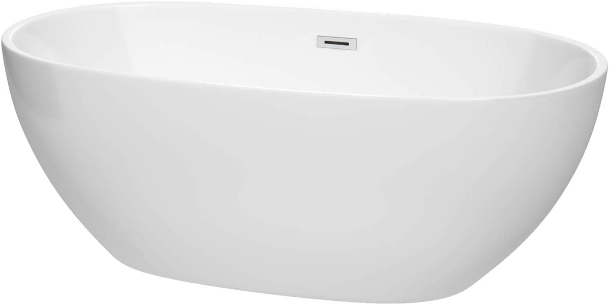 Wyndham Collection Juno 63 inch Freestanding Bathtub in White with Polished Chrome Drain and Overflow Trim