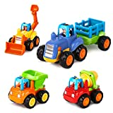 AOKESI Friction Powered Cars Push and Go Toys Car Construction Toys Toddler Trucks Set of 4 Tractor, Cement Mixer, Bulldozer & Dump Truck for Boys Age 1 2 3 Ideal Baby Kid Gift