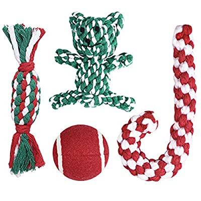 Christmas-Stocking-Gifts-for-Dog-Unique-for-Pets-Puppy-Chewing-Toys-Including-Red-Ball-Candy-Cane-Bear-Toy-and-Cotton-Knotted-Rope