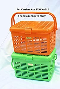 1 Safe Stylish Pet Cat Carriers Easy Open Wide Top Load Door Fully Assembled Easily Place and See Cats Dogs Rabbit Small Animals inside 16x11.63x10.25 Free Soft Fur Mat (Green)