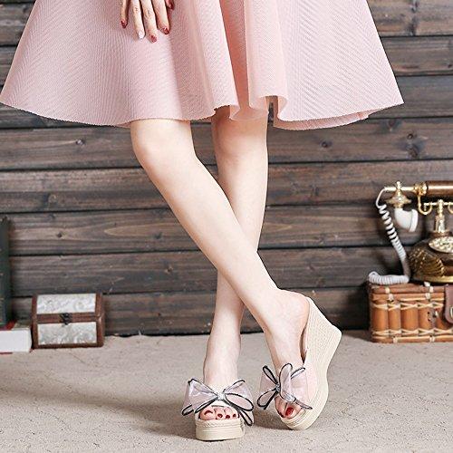 Zapato de Sandalias Zapatillas las T Negro Sandalias Rhinestone 9CM impermeable de punta Mariposa Plataforma mujeres tacón del Pink de inferior grueso nudo verano Color abierta Bohemia FEIFEI de bajo 517qd5