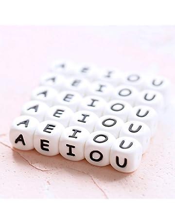 Mamimami Home Alfabeto Cubo Bolas de silicona de grado alimenticio en 26 letras Bolas de masticación