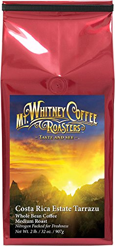 Mt. Whitney, 2LB Costa Rica Estate Tarrazu, Whole Bean, Medium Roast Coffee, Nitrogen Packaged for Freshness
