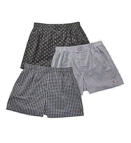 Boxers Mens Lauren Ralph (Polo Ralph Lauren Classic Fit 100% Cotton Woven Boxers - 3 Pack (LCWBS3) M/Black/Stripe/Plaid)