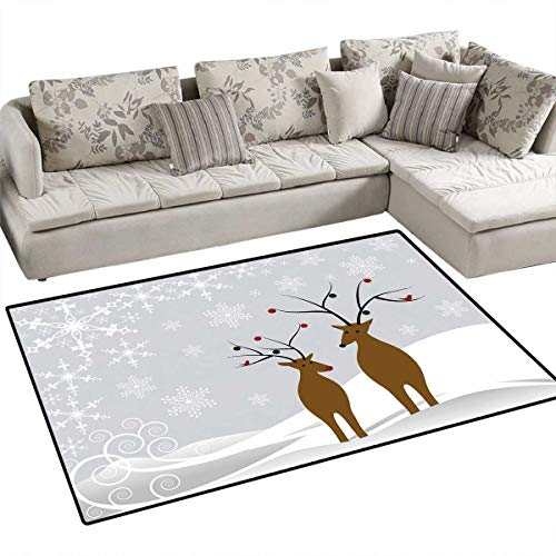 Christmas Door Mats for Inside Cute Reindeers at Noel Time Yule with Snowflakes in Winter Santa Print Bath Mat for Bathroom Mat 40