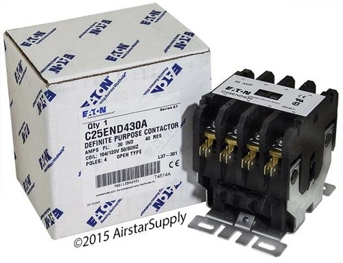 Coil 480vac Pole Contactor Single (Eaton C25END430A Definite Purpose Contactor, 50mm, 4 Poles, Screw/Pressure Plate, Quick Connect Side By Side Terminals, 30A Current Rating, 2 Max HP Single Phase at 115V, 10 Max HP Three Phase at 230V, 15 Max HP Three Phase at 480V, 120VAC Coil Voltage)