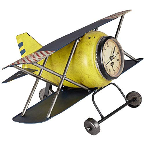 Kensington Hill Wright Classic Yellow Airplane Clock