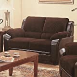 Coaster Monika Transitional Chocolate/Black Stationary Love Seat with Wood Feet