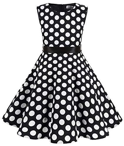 (MUADRESS Girls Sleeveless O-Neck Audrey 1950s Vintage Swing Princess Easter Party Dress BlackBigWhiteDot S)