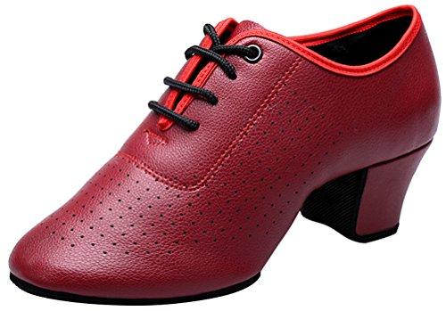 Shoes Lace Latin PU Abby Toe Up Cloth Fresh 851 Womens Low Tango Red Pointed Snug Top Dance Flat Rumba Ballroom ggxtUAOwnq