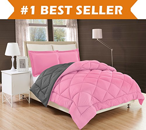 Elegant Comfort All Season Comforter and Year Round Medium Weight Super Soft Down Alternative Reversible 2-Piece Comforter Set, Twin/Twin XL, (Pink Bed Bag)