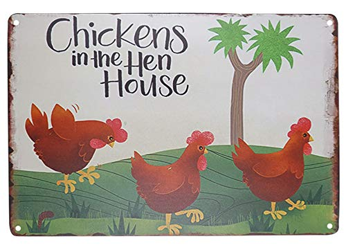 SKYC Chicken in The Hen House Retro Vintage Metal Tin Signs Rustic Farmhouse Country Wall Art Sign 8