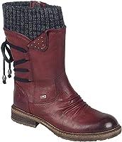 Acreny Botas de Mujer Invierno Altas Botines de Cuero PU Retro Zapatos de Invierno de Tacón Bajo de PU Informal