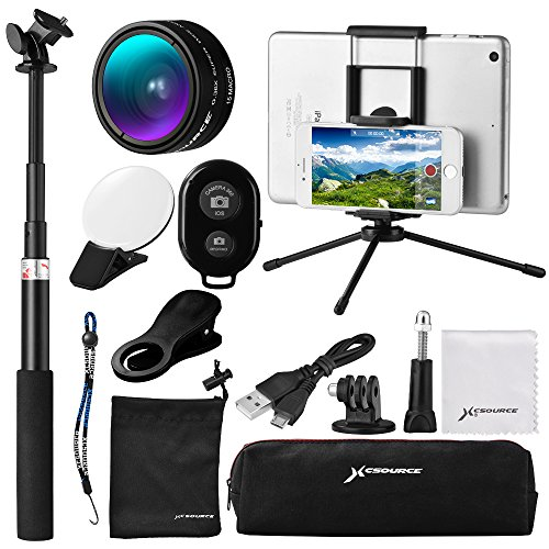12 in 1 Mini Lens Kit, Wide Angle + Macro Lens + Bluetooth Shutter + 9LED Fill Light + Selfie Stick Monopod + Mini Tripod for iOS/Andriod Smartphone, Gopro Sports Action Camera
