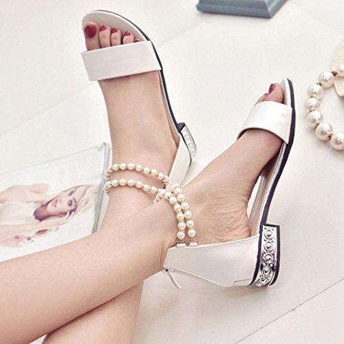 Hunpta Frauen flache Schuhe String Perlen Böhmen Damen Sandalen Peep-Toe Outdoor Schuhe Weiß