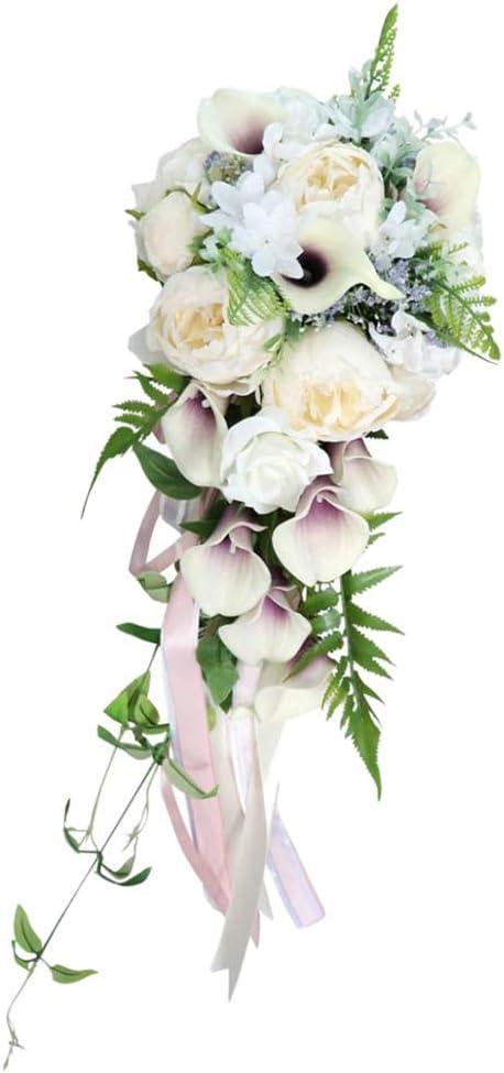 FLAMEER Ramo de Flores Rose Artificiales de Boda Accesorios para ...
