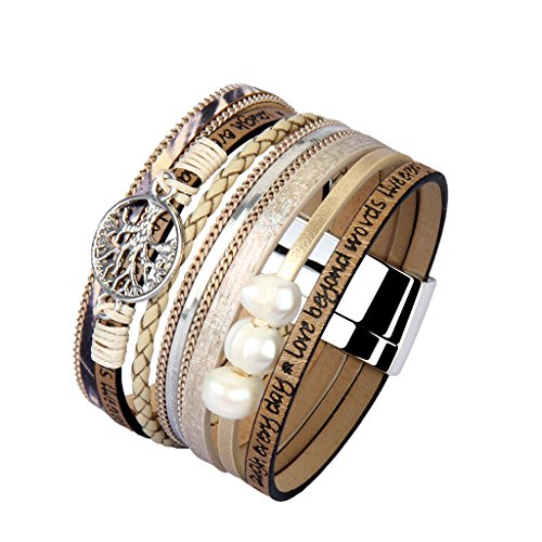 Jenia Tree of life Leather Cuff Bracelet Personality Engraved Braided Wrap Bangle with Pearl - Handmade Boho Jewelry for Women Kids Men Teens Girls Birthday Gift - Beige by Jenia (Image #2)