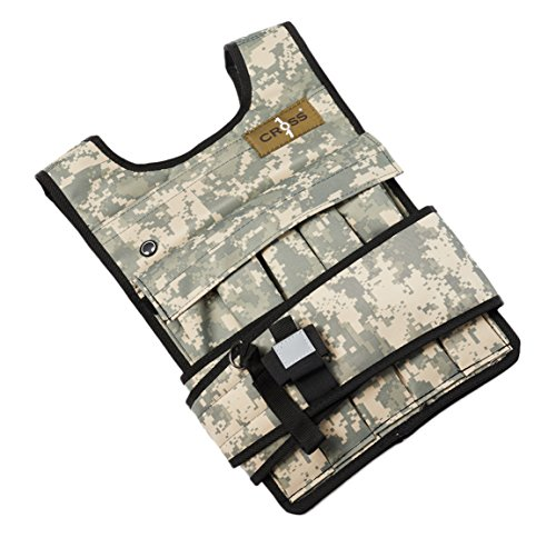 CROSS101 Adjustable Camouflage Weighted Vest With Shoulder Pads, 50lbs