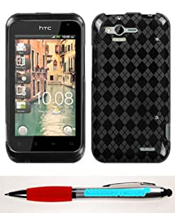 Accessory Factory(TM) Bundle (Phone Case, 2in1 Stylus Point Pen) HTC ADR6330 (Rhyme) Smoke Argyle Pane Candy Skin Cover